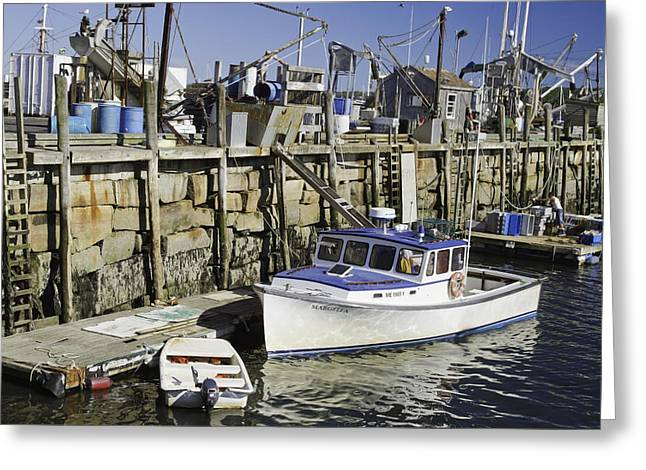 Rockland Maine Fishing Boats And Harbor Greeting Card