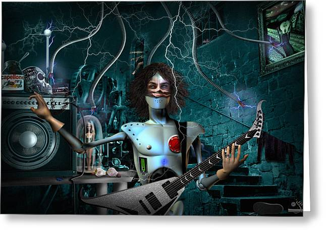 Rock'n'roll Robot Greeting Card by Alessandro Della Pietra