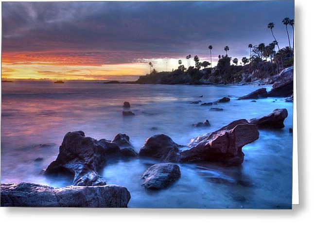 Rockpile Beach Moodscape Greeting Card by Cliff Wassmann