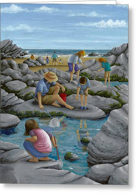 Rockpooling Greeting Card by Peter Adderley