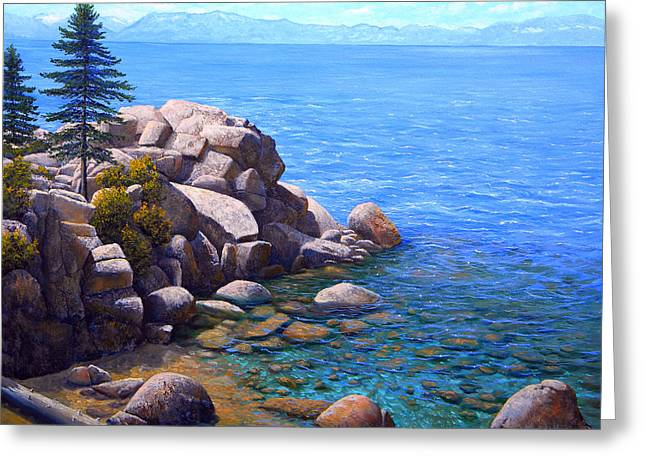 Rocks And Water Lake Tahoe Greeting Card