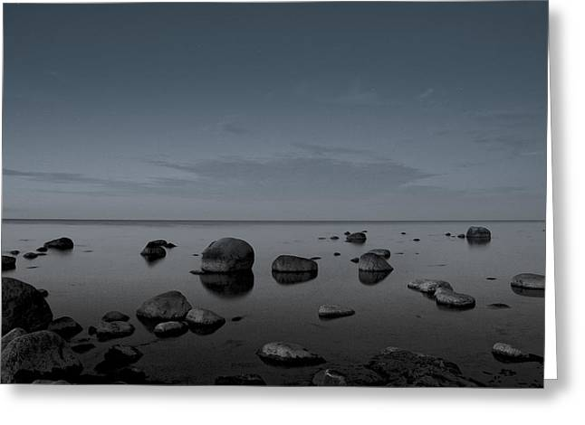 Greeting Card featuring the photograph Rocks At Midnight by Alex Weinstein