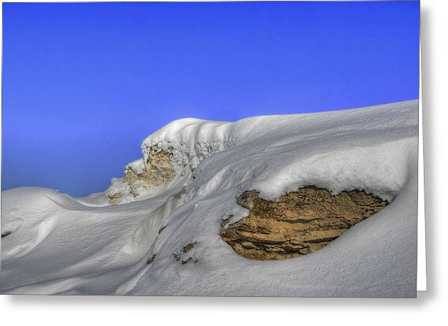 Rocks Covered With Snow Against Clear Blue Sky Greeting Card