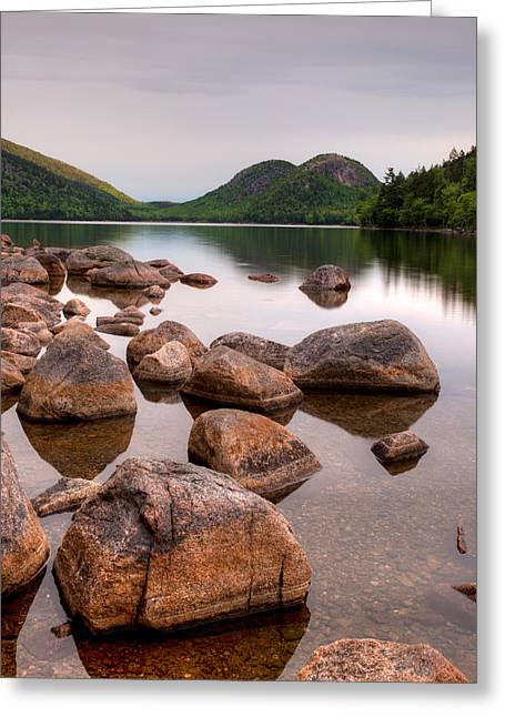 Rocks In Pond, Jordan Pond, Bubble Greeting Card