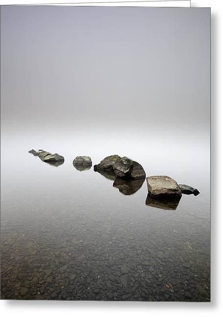 Rocks In The Mist Greeting Card by Grant Glendinning
