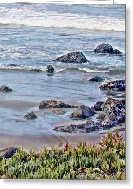 Rocks In The Sand And Waves Greeting Card by Elaine Plesser