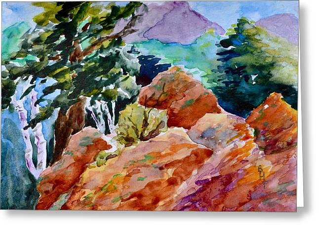 Rocks Near Red Feather Greeting Card by Beverley Harper Tinsley