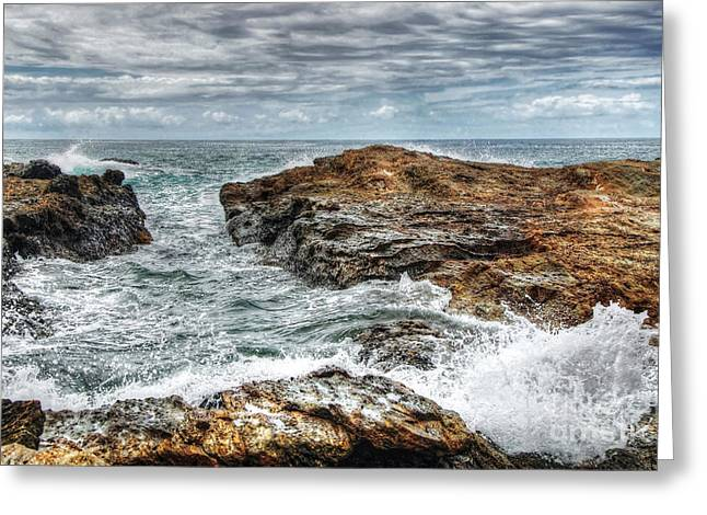Breaking Surf Greeting Cards - Rocks Ocean and Clouds Greeting Card by Kaye Menner