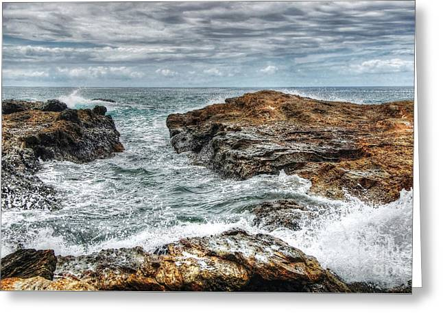 Rocks Ocean And Clouds Greeting Card