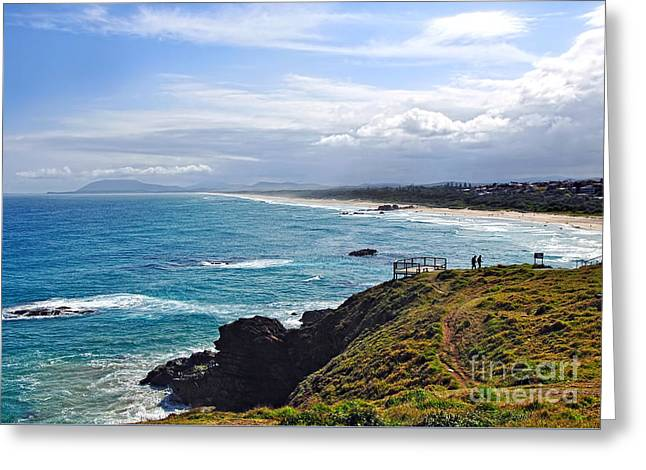 Rocks Ocean Surf And Sun Greeting Card by Kaye Menner
