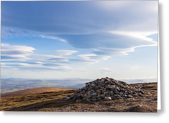 Rocks Piled Up On Djouce Mountain Summit Greeting Card by Semmick Photo