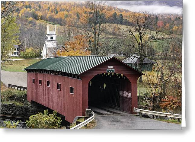 Rockwell Country - The Covered Bridge Of West Arlington Greeting Card by Thomas Schoeller