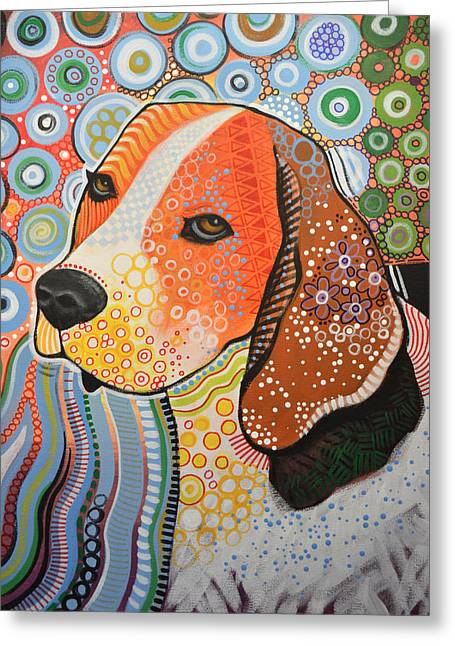Rocky ... Abstract Dog Art ... Beagle Greeting Card by Amy Giacomelli
