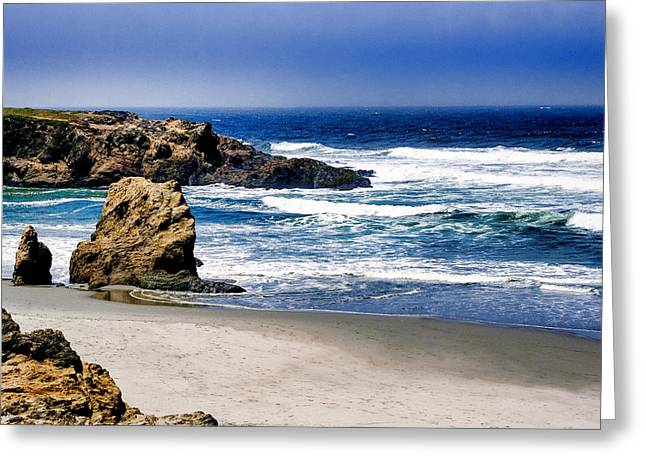 Greeting Card featuring the photograph Rocky Beach Blue Mendocino by William Havle