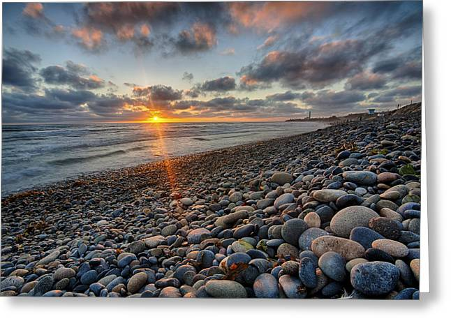 Rocky Coast Sunset Greeting Card by Peter Tellone