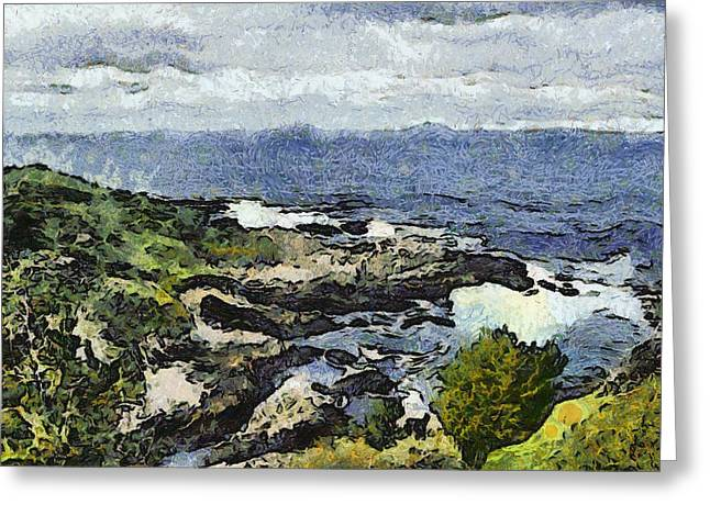 Rocky Cove Starry Night Redention Greeting Card by Barbara Snyder