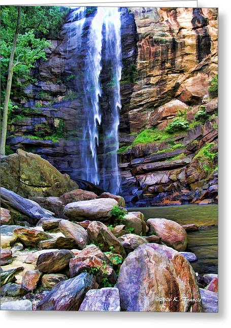 Rocky Falls Greeting Card by Kenny Francis