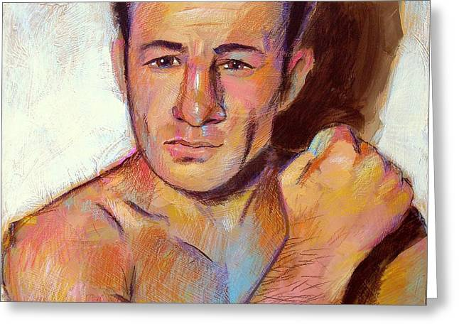 Greeting Card featuring the painting Rocky Graziano  by Robert Phelps