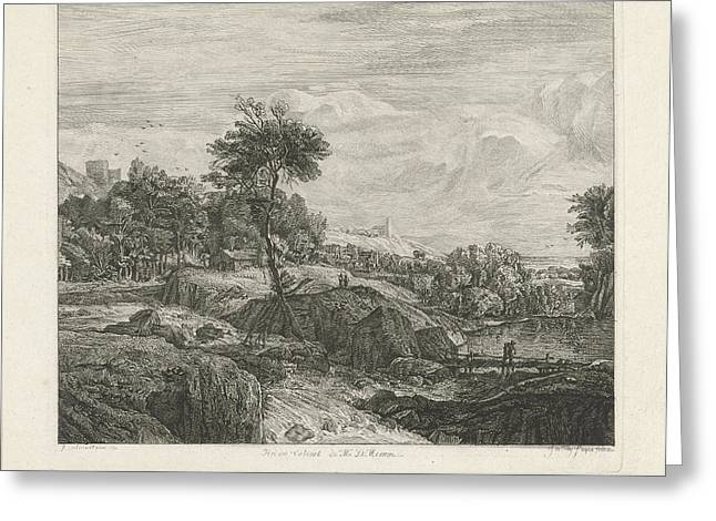 Rocky Landscape, Johannes Pieter De Frey Greeting Card