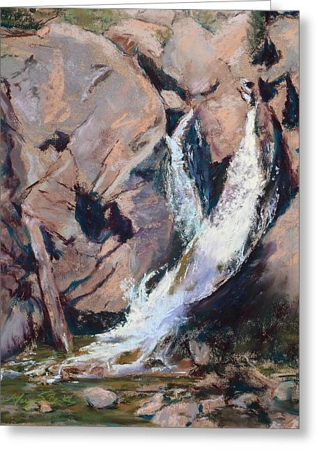 Rocky Mountain Cascade Greeting Card by Mary Benke