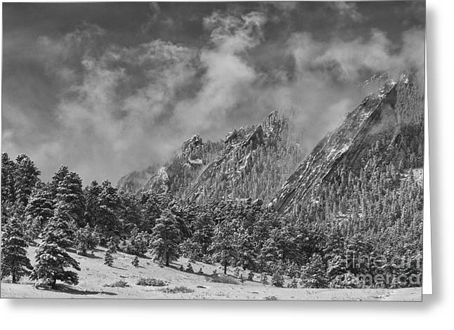 Rocky Mountain Dusting Of Snow Boulder Colorado Bw Greeting Card by James BO  Insogna