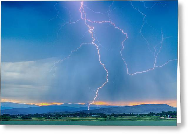 Rocky Mountain Foothills Lightning Strikes 2 Hdr Greeting Card