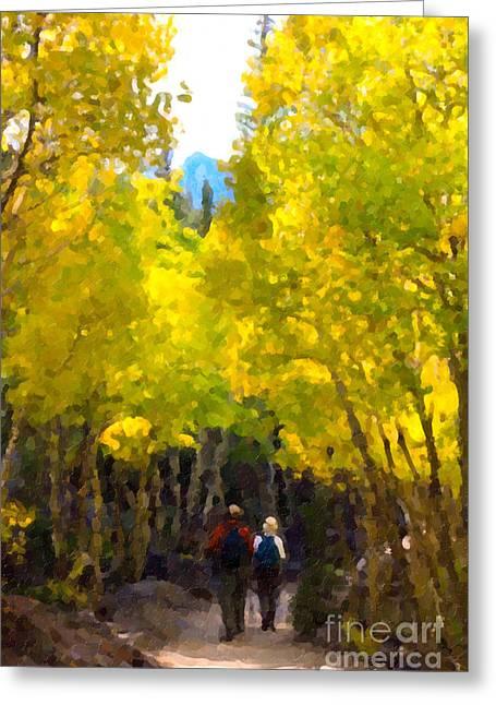 Rocky Mountain Hike Greeting Card by Karen Lee Ensley