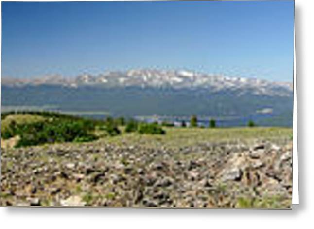 Rocky Mountain Rooftop Panoramic Greeting Card by Jeremy Rhoades