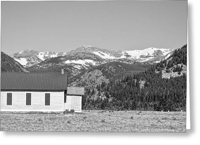 Rocky Mountain School House Panorama Greeting Card