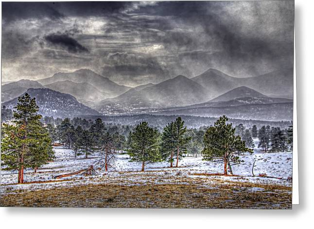 Rocky Mountain Snow Storm Estes Park Colorado Greeting Card