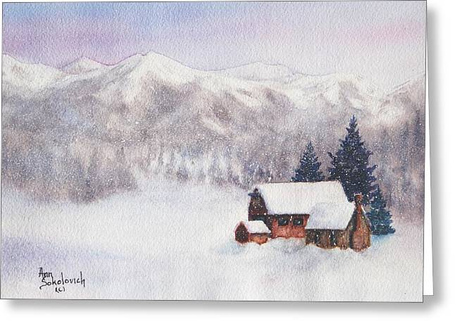 Rocky Mountain Winter Greeting Card by Ann Sokolovich