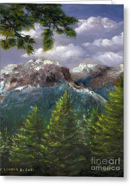 Greeting Card featuring the painting Rocky Mountains National Park Colorado by Lenora  De Lude