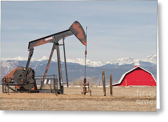 Rocky Mountains Oil Well And Red Barn Panorama Greeting Card