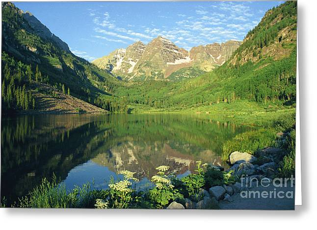 Rocky Mtn Lake Sunrise Greeting Card