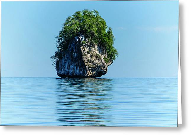 Rocky Outcrops In The Bacuit Greeting Card by Michael Runkel