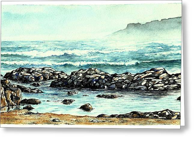 Greeting Card featuring the painting Rocky Seashore by Heidi Kriel