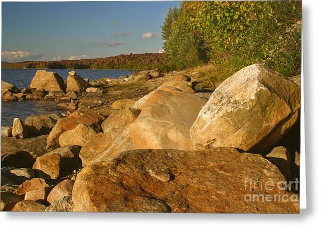 Rocky Shore At Sundown Greeting Card by Charles Kozierok