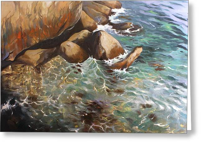 Rocky Shore Greeting Card by Lin Petershagen