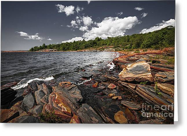 Rocky Shore Of Georgian Bay I Greeting Card by Elena Elisseeva