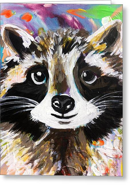 Rocky The Raccoon Greeting Card by Kim Heil