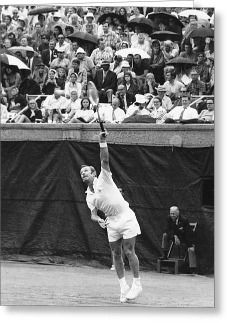 Rod Laver Tennis Serve Greeting Card by Underwood Archives