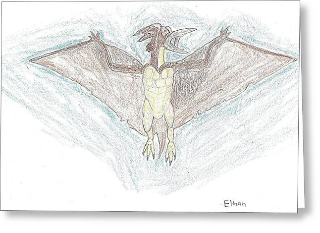 Greeting Card featuring the drawing Rodan by Fred Hanna