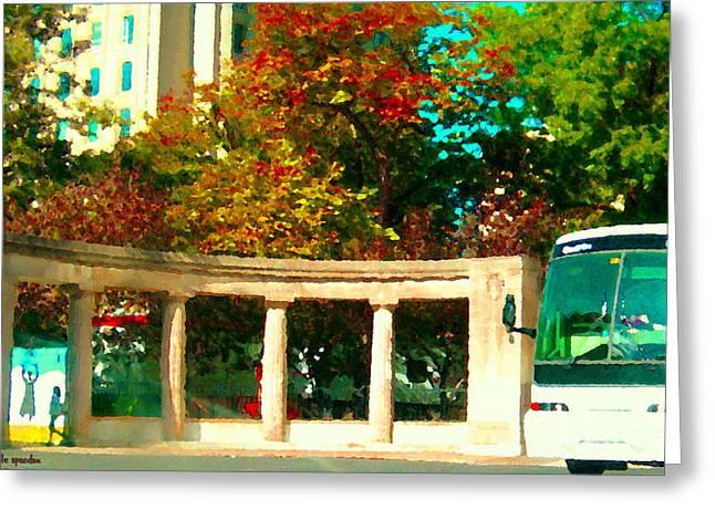 Roddick Gates Mcgill Campus Sherbrook Street Bus Autumn Downtown Montreal City Scenes Carole Spandau Greeting Card by Carole Spandau