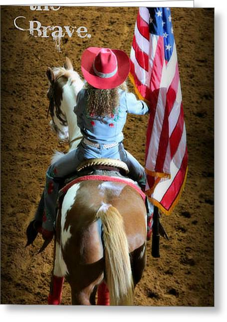 Rodeo America - Land Of The Free Greeting Card by Stephen Stookey