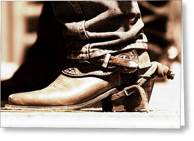 Greeting Card featuring the photograph Rodeo Boot And Spur In Copper Tint by Lincoln Rogers