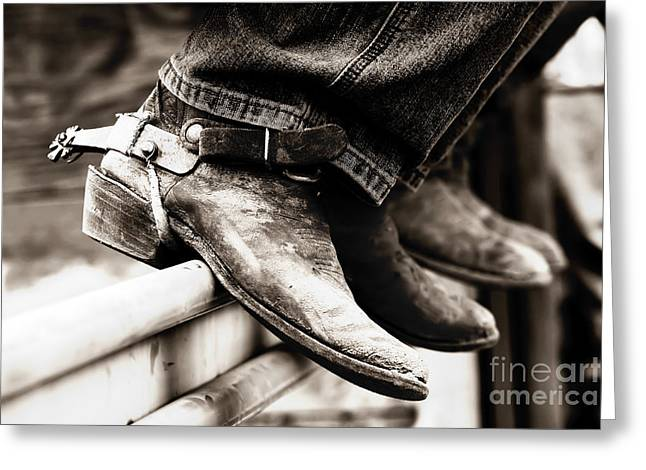 Rodeo Boots And Spurs In Black And White Greeting Card