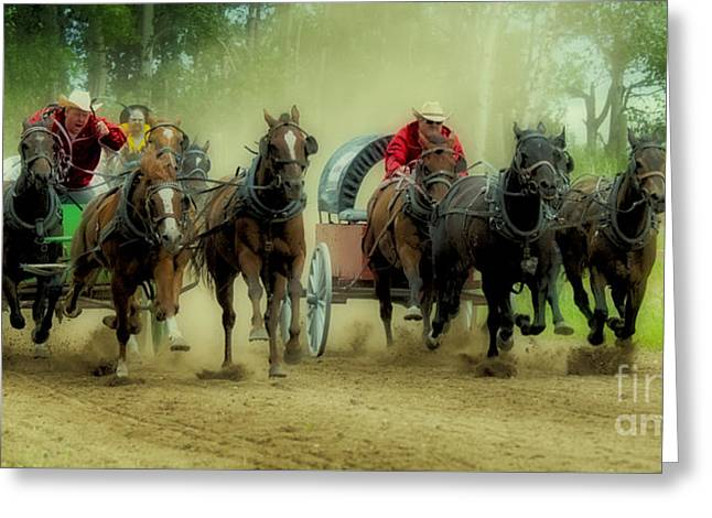 Rodeo Chuck Wagons On The Run Greeting Card