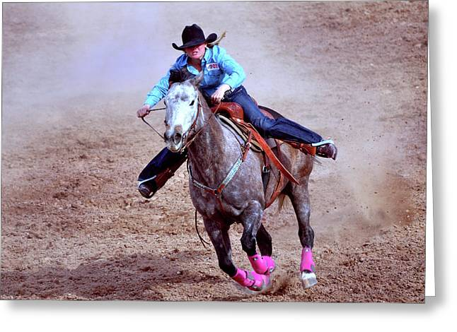 Rodeo Cowgirl Greeting Card by Barbara Manis