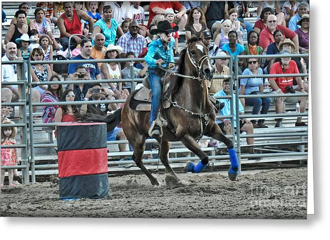 Rodeo Cowgirl Greeting Card by Gary Keesler