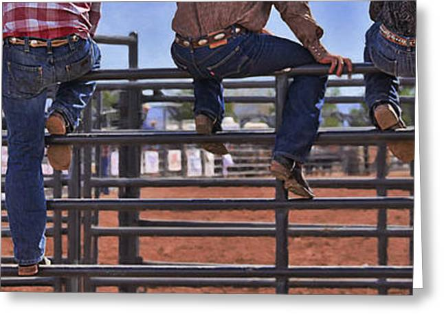 Rodeo Fence Sitters Greeting Card by Priscilla Burgers
